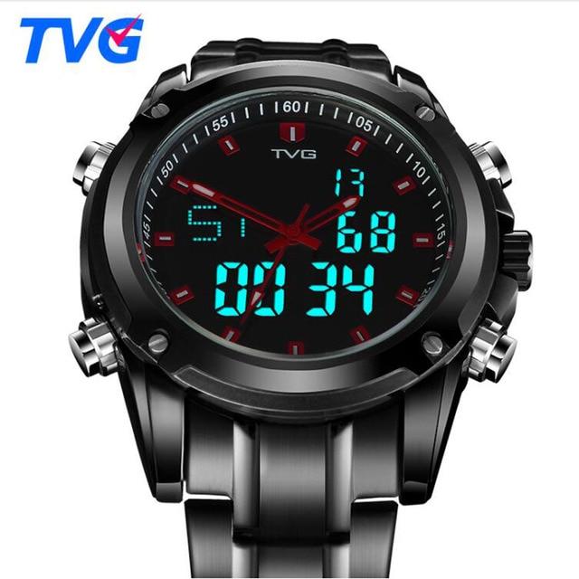 351f3471f12 TVG Homens Relógios Militares Esportes Dupla Afixação Relógio De Quartzo  Dos Homens À Prova D