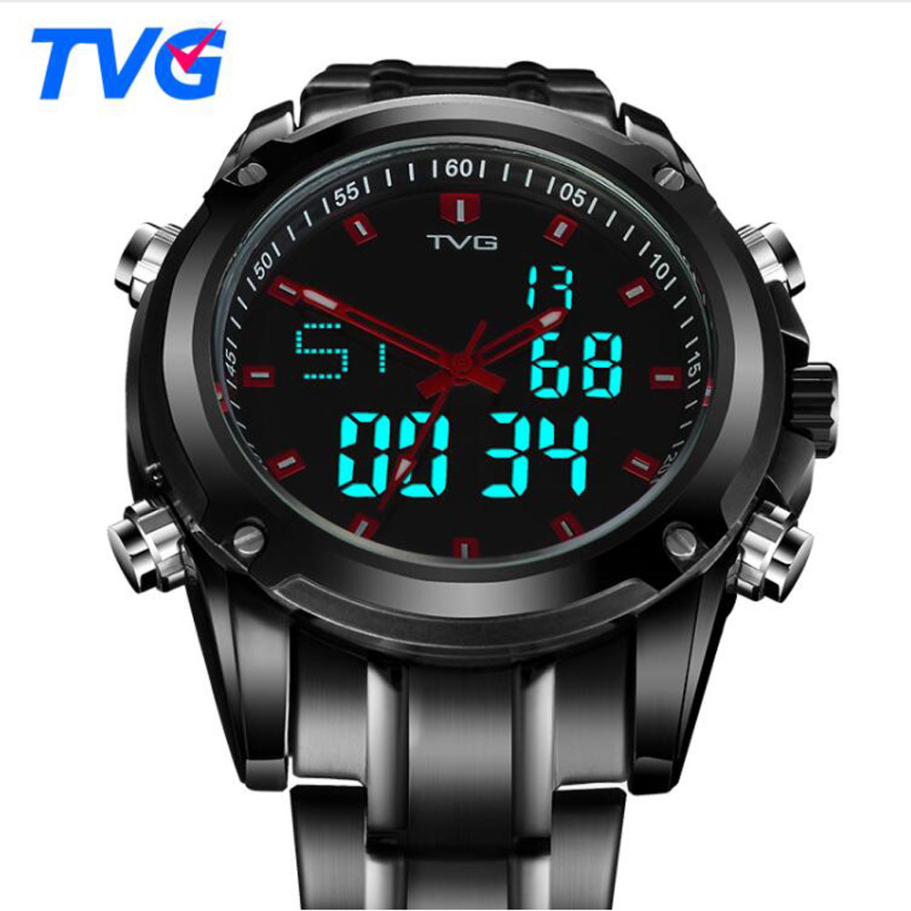 TVG Men Watches Military Sports Dual Display Quartz Watch Men Waterproof LED Digital Full Steel Wristwatch Relogio Masculino