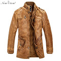 Slim Warm Design Leather Jacket Men With Washed Leather Motorcycle Standing Collar Jackets Coat  Jaqueta De Couro Parka