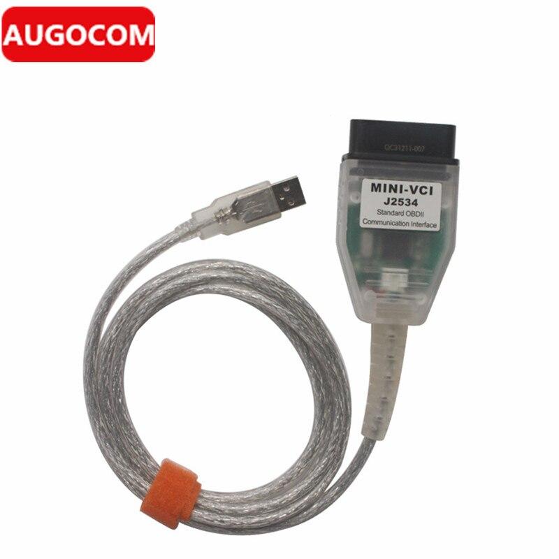 Цена за 10 шт. MINI VCI для Toyota один кабель Поддержка для Toyota TIS OEM диагностического Программное обеспечение высокая производительность с ARM Процессор внутри