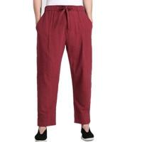 New Arrival Burgundy Chinese Men's Kung Fu Trousers Cotton Linen Pants Clothing Size S M L XL XXL XXXL 2608