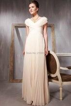 Heißer verkauf elegante V zurück prom kleider bodenlangen chiffon große perlen kappen-hülsen abendkleider