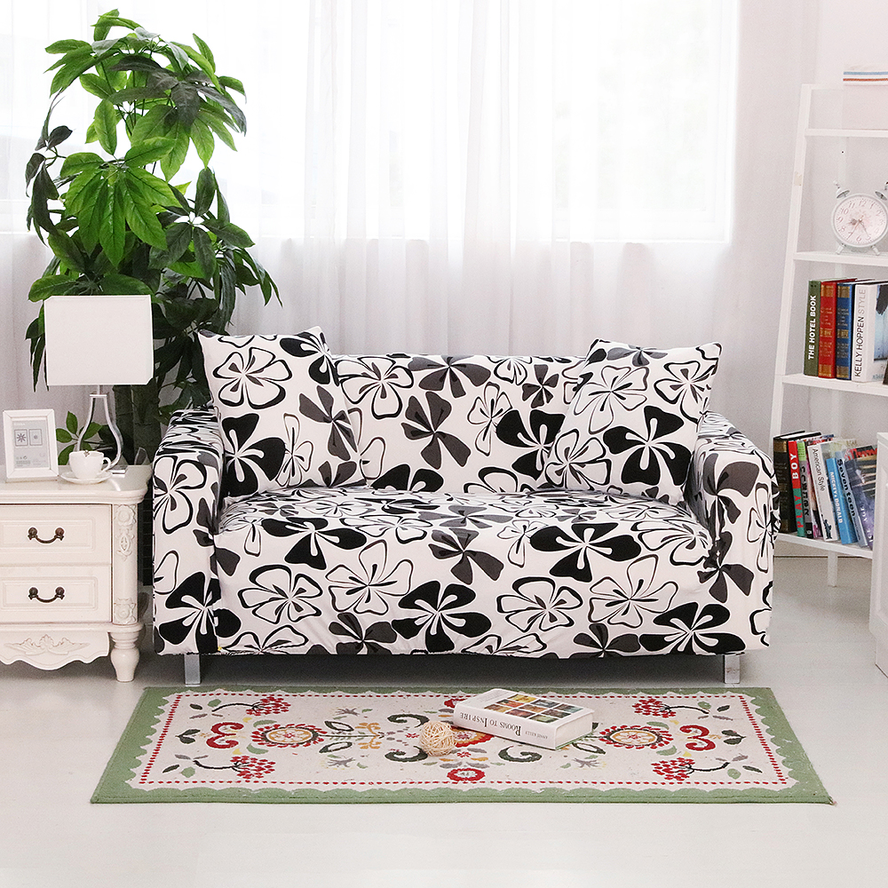 Sofa cover white and black floral slip resistant cover elastic for sectional sofa full sofa towel
