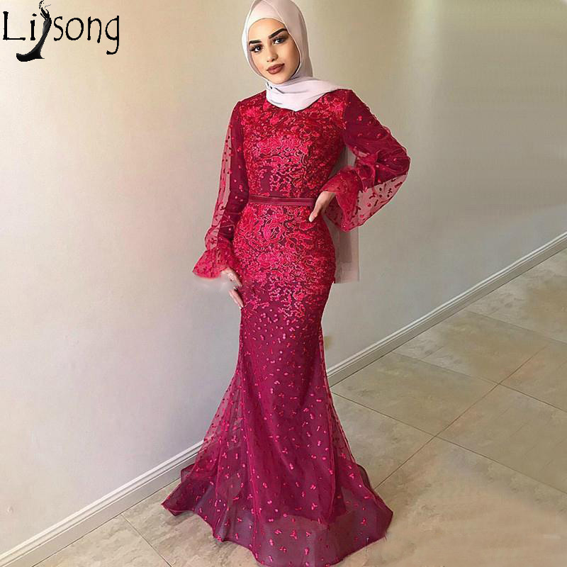 Red Lace Mermaid Muslim Prom Formal Dresses With Long Sleeve 2019 High Neck Middle East Arabic Dubai Occasion Evening Wear Gowns
