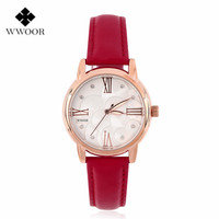 2016 Luxury Brand Round Dial Dress Watch Ladies Quartz Crystal Genuine Leather Wrist Women Watches New