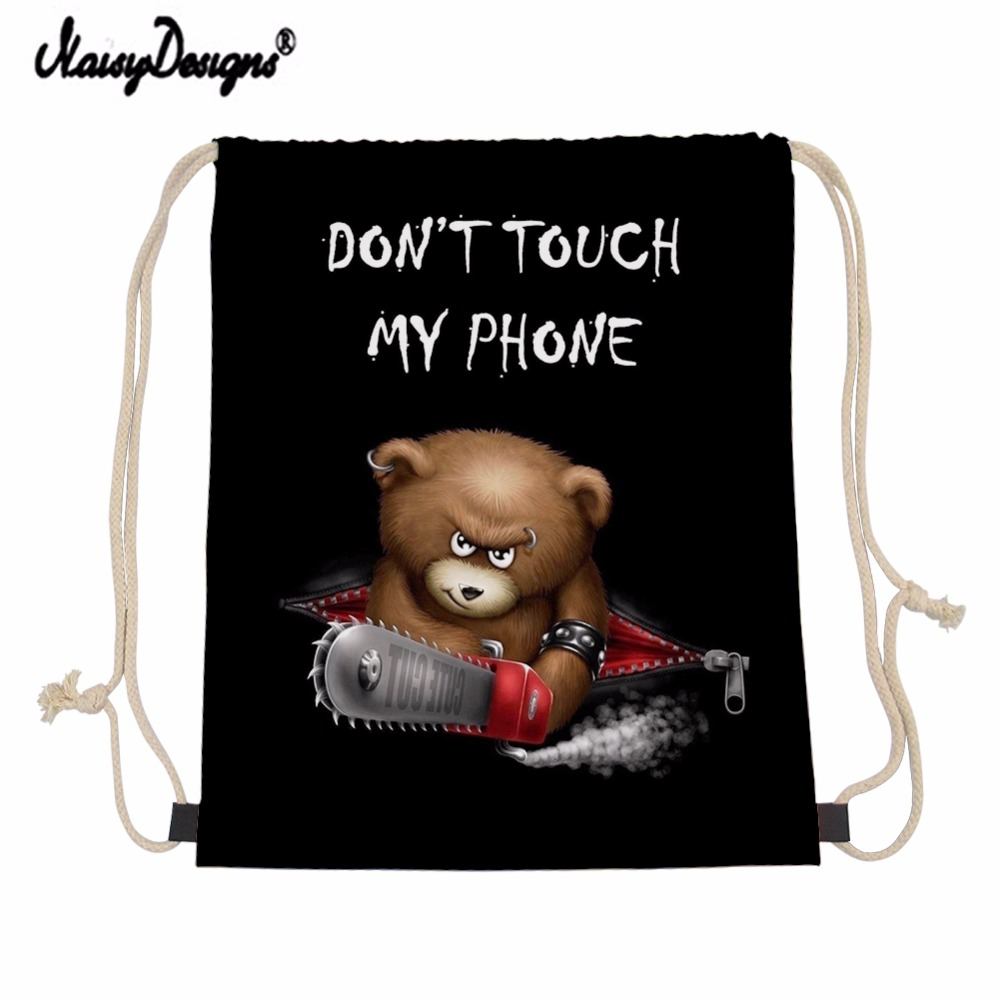 NOISYDESIGNS Customzied Small Drawstring Bag Fashion Pattern Printing Storage Bags Daily Backpack Junior Boy Sac Cordon Mochila