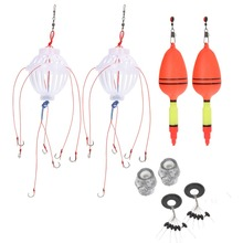 New Arrival 2Pcs Silver Carp Fishing Float Bobber Sea Monster with Carbon Steel Six Strong Explosion Hooks Fishing Tackle Set