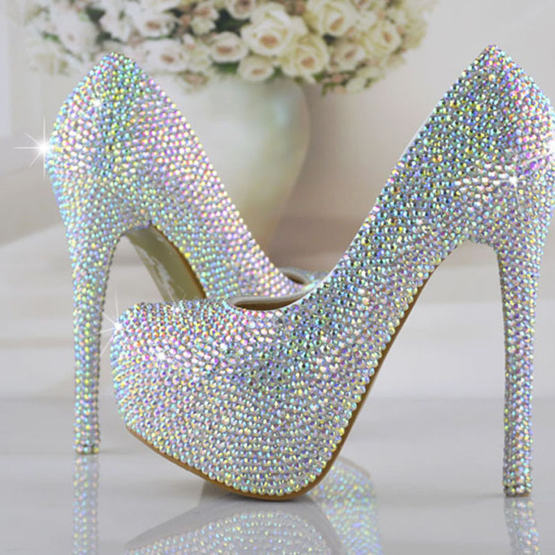 Fashion Bridal High Heels Prom Evening Party Pumps Amazing Wedding Bridal Shoes AB Crystal Bling Bling Cinderella Shoes