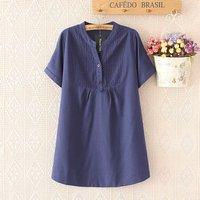 2017 Plus Size Summer Women Long Blue T Shirt Half Sleeves Turn Down Collar Casual Cotton