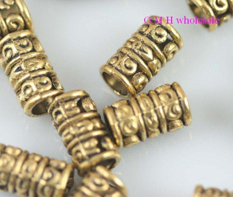 Spacer-Beads Jewelry Metal Wholesale 13x7mm ZL517 OMH 10pcs Golden-Tube