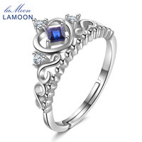 LAMOON Crown Wedding Ring Princess Cut 100% Sapphire Gemstone 925 Sterling Silver Fine Jewelry Rings For Women RI047