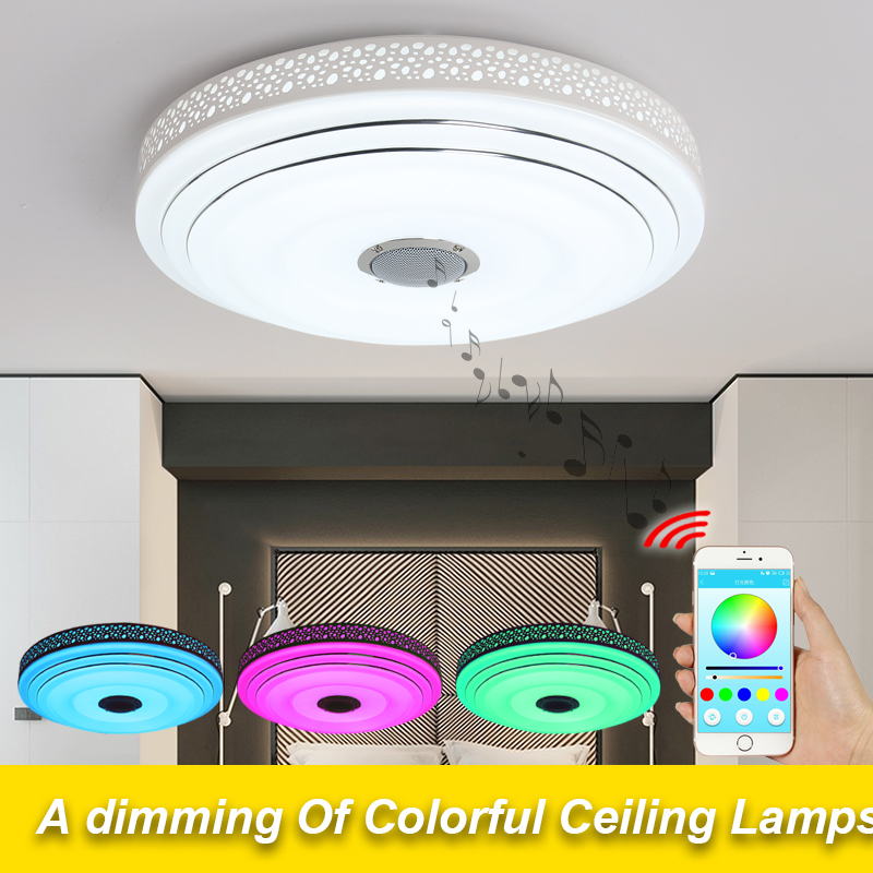 2018 New rgb dimming 36W LED ceiling light with Bluetooth and music 90-260V modern LED ceiling light for 15-30 square meters 2017 new rgb dimmable 36w led ceiling light with bluetooth