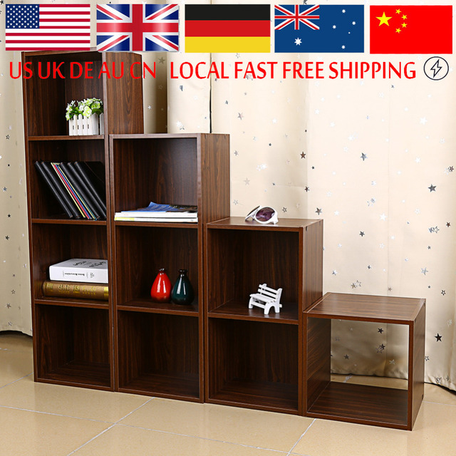 Lovely 1/2/3/4 Tiers Wooden Bookcase Shelf Standing Book Shelves Storage Multi Home Design Ideas