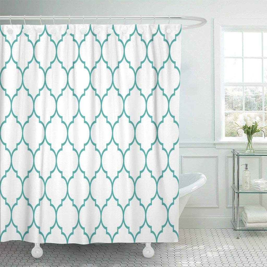 Fabric Shower Curtain Hooks Trellis Mint White Wide Moroccan Pattern Shape Graphic Abstract Antique Arabic Decorative