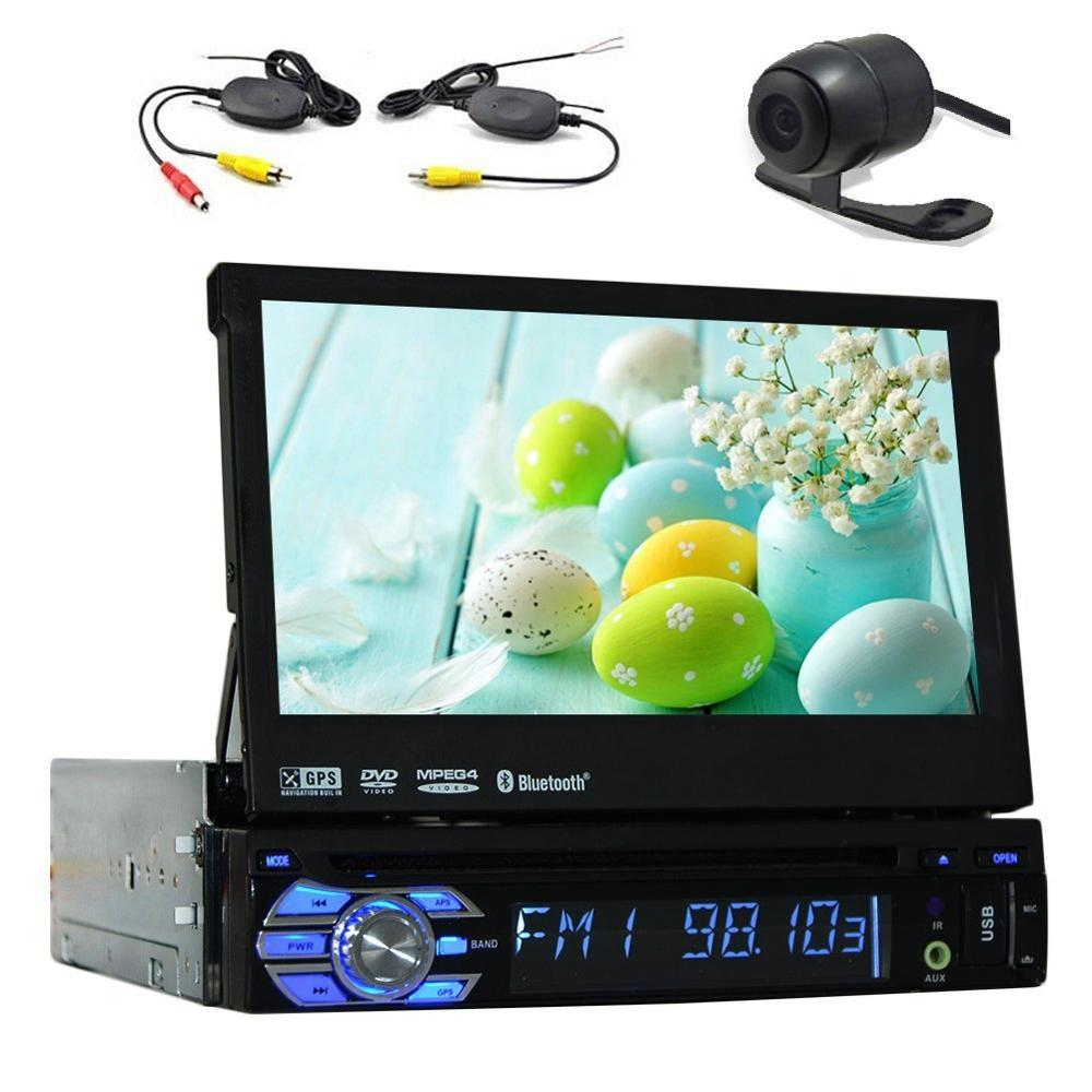 Rear Camera include! Car GPS Navigation DVD Player 1din Stereo Audio Player USB IPOD FM Transmitter Steering Wheel Control Radio