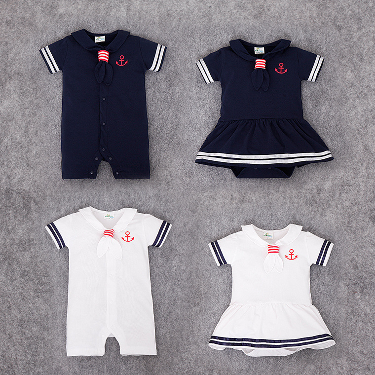 Summer New Baby Sailor Costume Cool Bebe Dresses Short Triangle   Rompers   Lovely Tie Collar White/Blue Baby Boy Clothes Jumpsuit