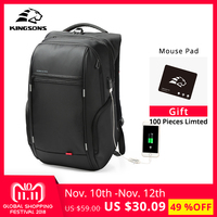 Kingsons External USB Charge Laptop Backpack Anti theft Notebook Packsack 15/17 inch Waterproof Laptop Bag for Men Women