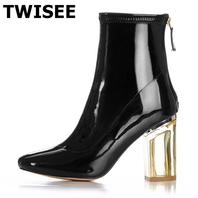 TWISEE Fashion square toe black biege women ankle boots thick heel brand Patent Leather women shoes causal motorcycles boots fashion square toe lace up genuine leather solid nude women ankle boots thick heel brand women shoes causal motorcycles boot l74