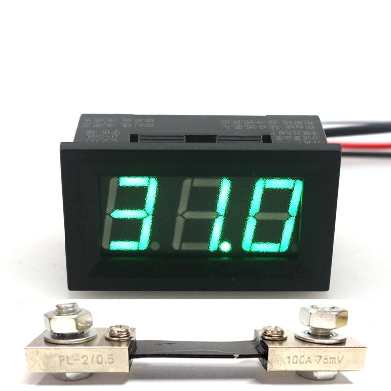 Green Led Display Digital Ammeter DC 0-100A Current Ampere Amp Meter Power Supply DC 4.5-28V with 100A/75mV Shunt Resistor