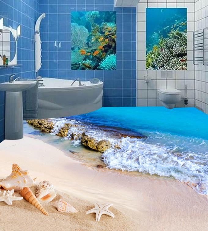 Custom European Mural 3d Flooring Beach Beach Shells Wall papers Home Decor Living Room Vinyl Flooring Self Adhesive Wallpaper custom floor wallpaper beach shells and starfish bathroom floor mural paintings self adhesive waterproof wall papers home decor