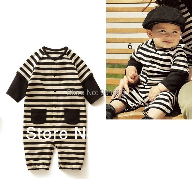 Black Stripes Baby Boy Grow Long Sleeved Bodysuit Romper Onesie Jumpsuit