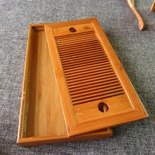 Tea Tray High Quality Classical Style 27*13.7*2.7cm Solid Wood and Bamboo Carved Tea Tray, Exquisite Bamboo Tea Board Tea Set