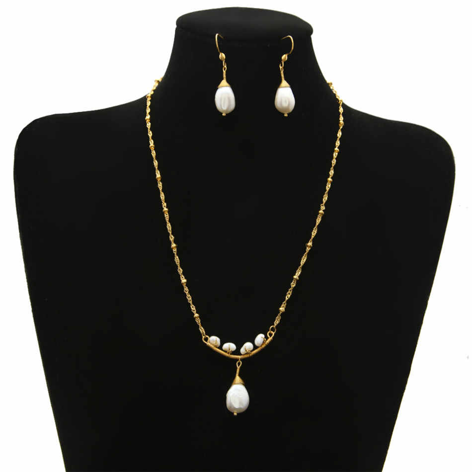 Women Fashion Pearl Jewelry Set Stainless steel Gold Chain White Real Natural Freshwater Pearl Pendant Necklace Drop Earring Set