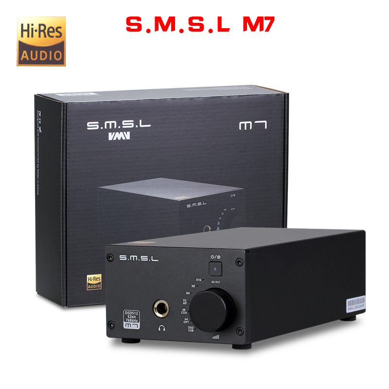 NEW SMSL M7 AK4452 * 2 32Bit/768KHz DSD512 Hifi Audio USB DAC with Amplifier XMOS LM4562 TPA6120A2 Headphone output smsl iq hi res portable headphone amplifier usb dac dsd512 pcm 768khz chargeable with built in battery 2 5mm and 3 5mm output