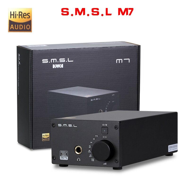 NEW SMSL M7 AK4452 * 2 32Bit/768 KHz DSD512 Hifi Audio USB XMOS DAC con Amplificatore LM4562 TPA6120A2 uscita cuffie