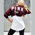 Autumn Winter Women Fashion Casual Long Sleeve Red Sweatshirts Pullovers Top Patchwork Design Letter Printed Pink Hoodies
