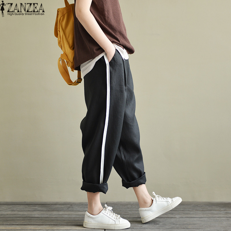 5XL ZANZEA 2019 Summer Women   Pants   Casual Striped Trousers Casual   Wide     Leg     Pants   Pantalon Femme Streetwear Sweatpants Plus Size