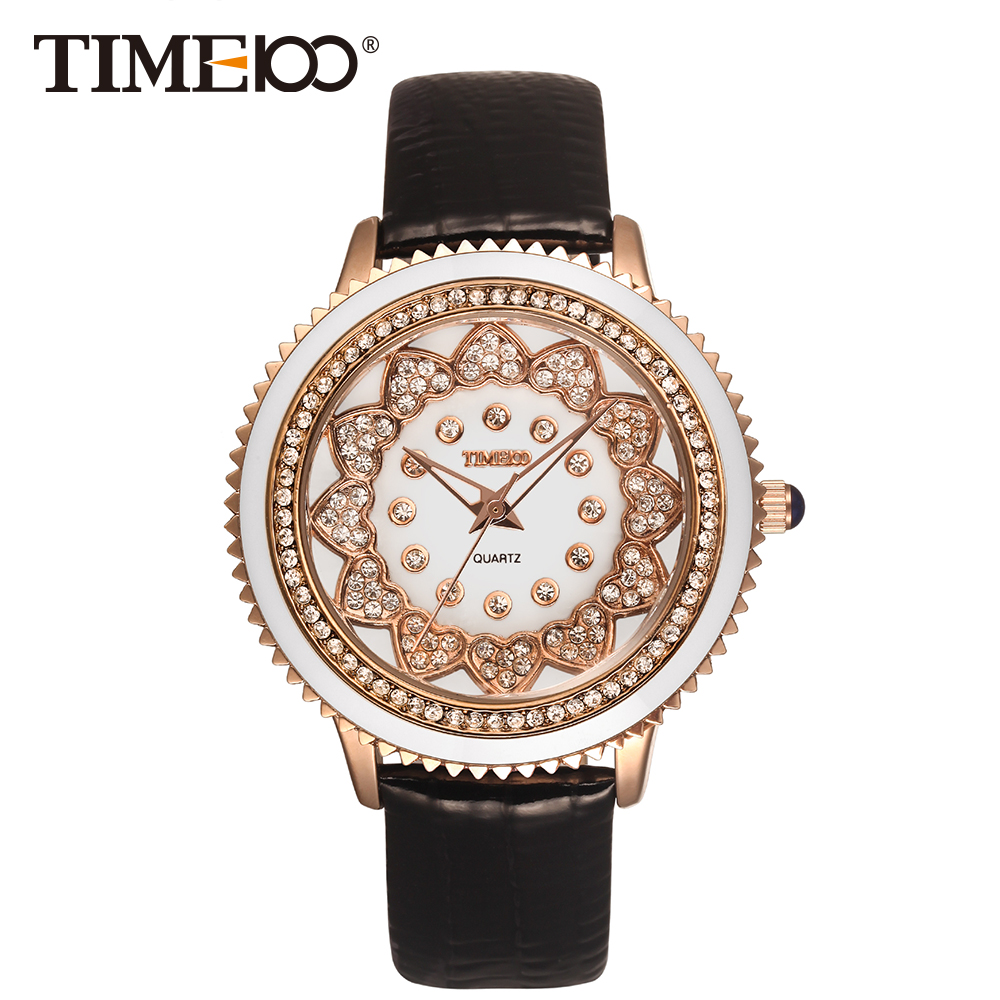 Time100 Unique Ladies Watches Black Leather Strap Diamond Gear Shape Shell Dial Quartz Watch Women Wrist Watches bayan kol saati