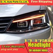 Автомобильный Стайлинг для фары для Volkswagen Jetta 2012- светодиодный налобный фонарь для Jetta светодиодный фонарь дневного света светодиодный DRL биксеноновый HID