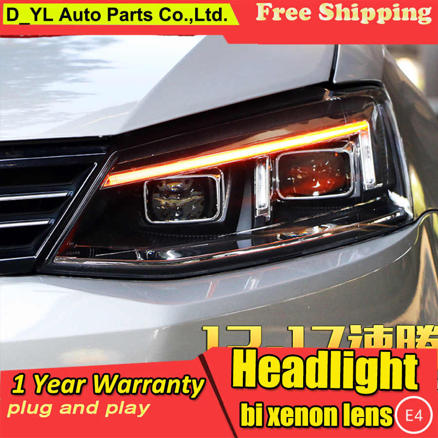 Car Styling for VW Jetta Headlights 2012-2017 LED Headlamp for Jetta Head Lamp LED Daytime Running Light LED DRL Bi-Xenon HID