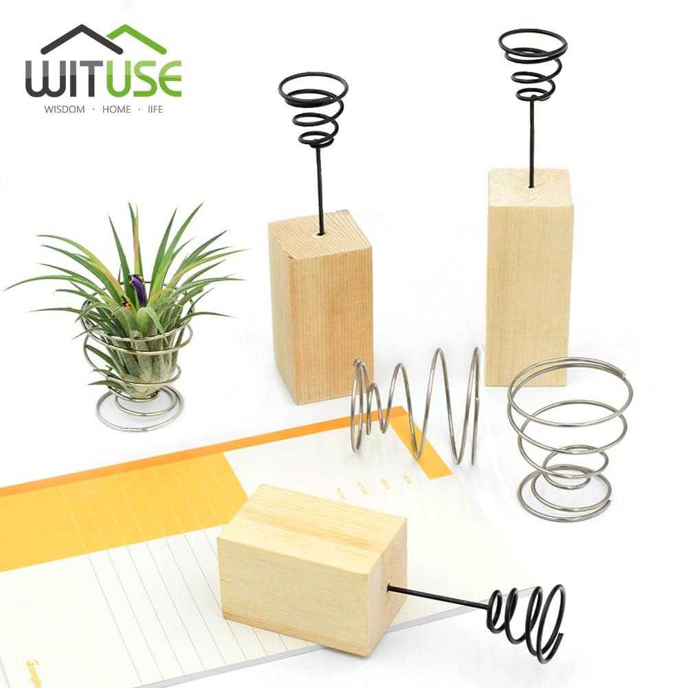 WITUSE New DIY Wedding Home Garden Air Plant Tillandsia Wood Iron Stand Container Holder Tabletop Desk Display 6cm 8cm 10cm