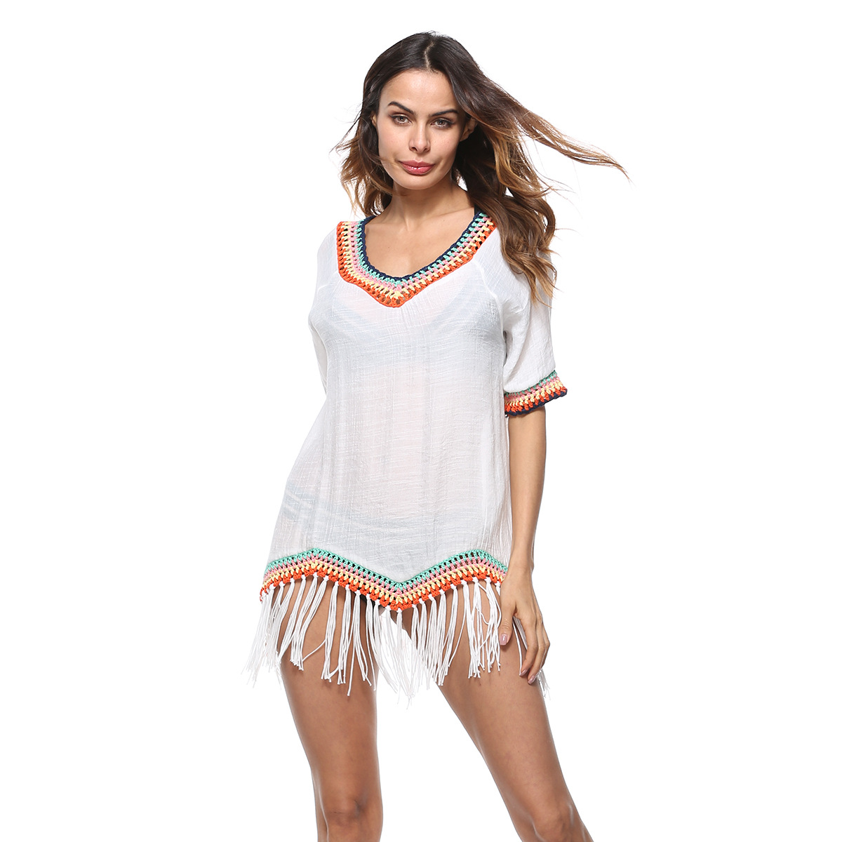 Bath Suits Dress Beach Cover Up Bikini Outings Tunics Womens Bather Tunic Cape 2018 Upper Garment Animal Acetate Sierra Surfer