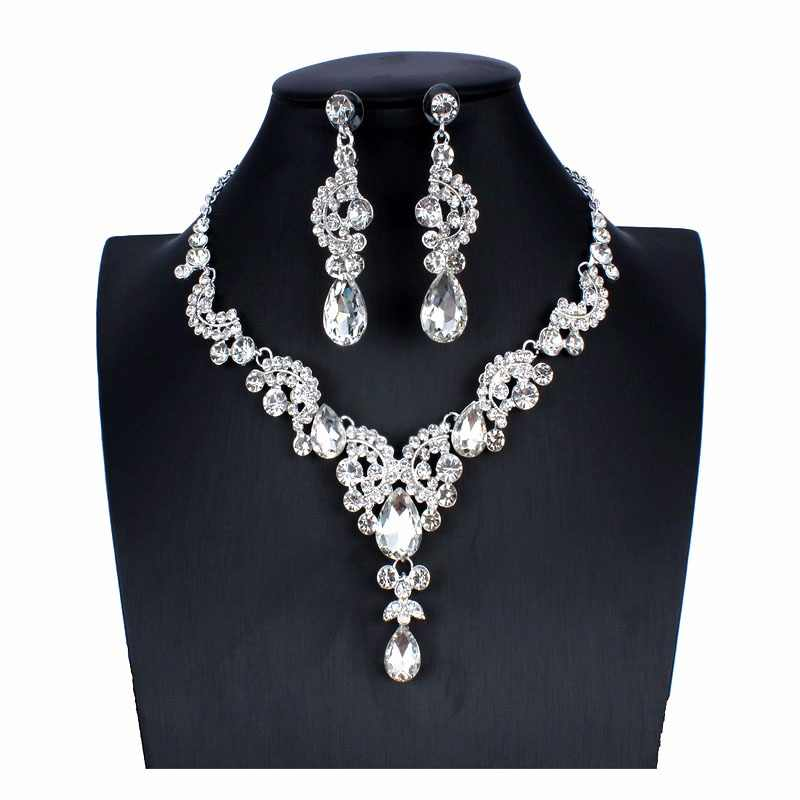 jiayijiaduo 2018 Elegant Floral Bridal Jewelry Sets for Women Clear Crystal Engagement Necklace Earrings Sets Wedding Jewelry