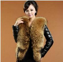 S/3Xl Womens Autumn Winter Stitching Pu Leather Slim Short Section Coats Ladies Large Faux Fur Collar Casual Coats Outwear J1402