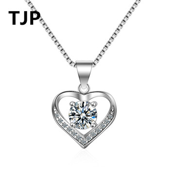 TJP Top Quality 925 Sterling Silver Women Pendant Necklaces Jewelry Clear CZ Crystal  Heart Girl Lady Party Accessory Gift