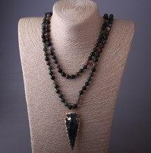 216ed3d32dd9 Moda 130 cm Long Knot Halsband India Agat Arrowhead colgante collar de las  mujeres de piedra Natural collar de cuentas