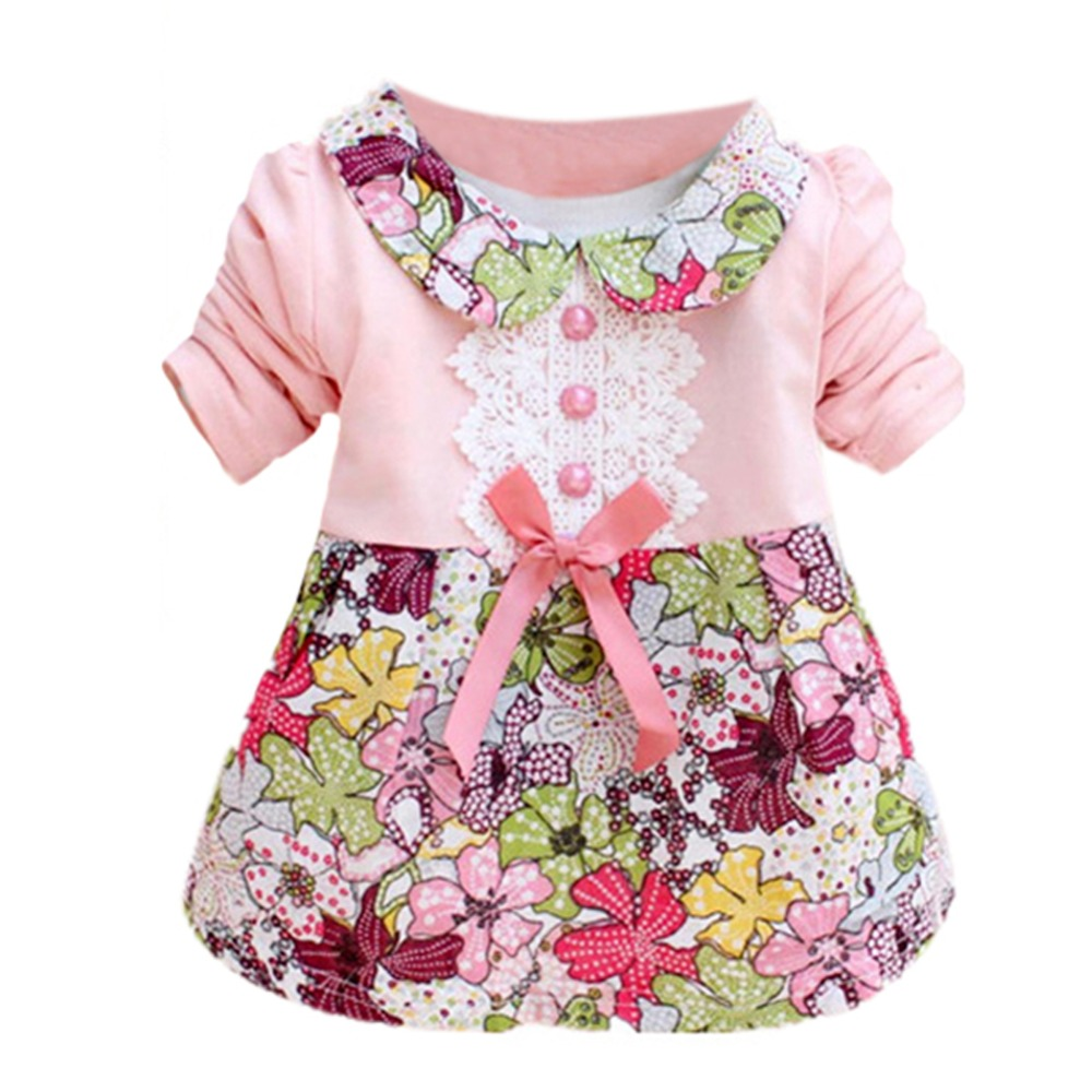 1 Pcs Toddler Infant Clothes Baby Girls Kids Short Sleeve Print Floral Princess Bowknot Dress 0-2Y girls