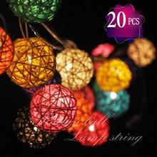 2M LED 110/220V EU/ US Plug Bettery 20 pcs Rattan Ball String Fairy Night Lights For Christmas Xmas Wedding decoration Party