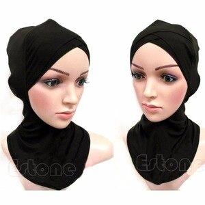 Image 5 - 2017 イスラム教徒シルケット綿四層クロススカーフフルカバーインナー綿ヒジャーブキャップイスラムヘッド磨耗帽子ヘッドバンド色