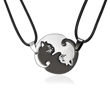 bbfb9555a High Quality 2 pcs/set Couples Jewelry Necklaces Black white Cat Couple  Necklace Titanium Steel