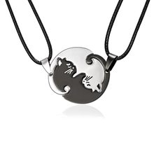 High Quality 2 pcs/set Couples Jewelry Necklaces Black white Cat Couple Necklace Titanium Steel animal Cat Pendants BEST GIFT(China)
