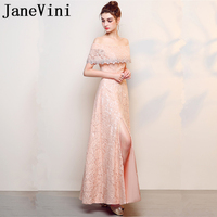 JaneVini Vestidos Elegant Lace Beaded Long Mother of The Bride Dress 2018 Boat Neck High Split A Line Evening Gowns Ankle Length