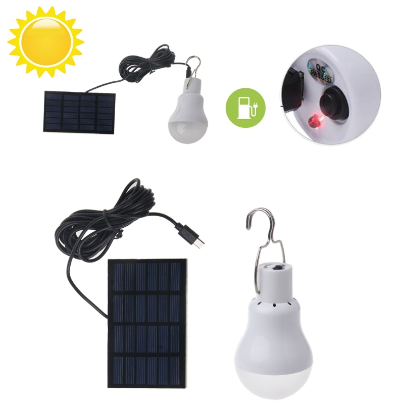 Solar Panel Powered LED Light Bulb Portable 15W 110lm Lamp Outdoor Hiking Camping - L059 New hot