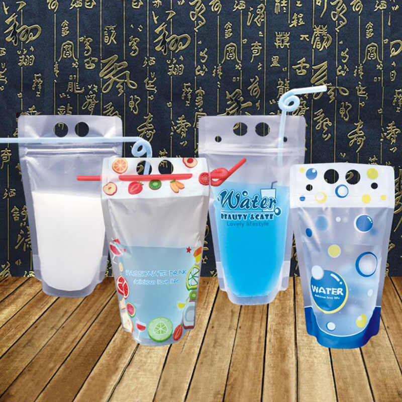 100 Pcs, 450 ml Colorful Plastic Drink Packaging Bag Pouch for Beverage Juice Milk Coffee,Self-sealed Cute Drink Bag with Handle