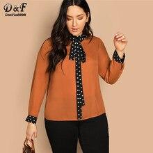 48fa8958634 Dotfashion Plus Size Oranje Das Polka Dot Blouse Womens Tops Herfst Casual  2019 Kleding Lange Mouwen Stand Kraag Shirt