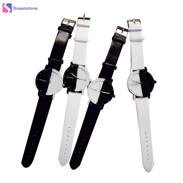 Men Women Students Watch Fashion Minimalist Style Black White Leather Belt Analo
